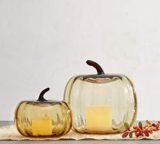 Pottery Barn Colored Recycled Glass Pumpkin Cloche - Amber