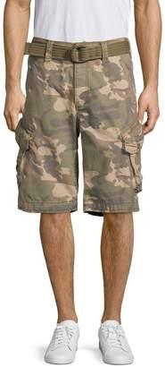 Jet Lag Jetlag Camouflage Belted Cotton Cargo Shorts