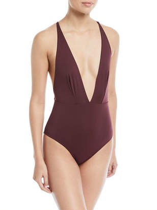 Skin Marina Plunging Solid Maillot One-Piece Swimsuit