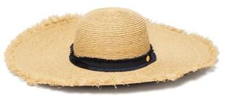 Heidi Klein Cape Elizabeth Frayed Raffia Wide Brim Hat - Womens - Beige Navy