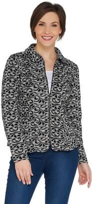 Isaac Mizrahi Live! Bi-Color Knit Jacquard Zip Front Jacket