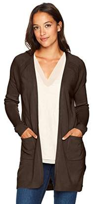 Napa Valley Women's Petite Cashmerlon Long Sleeve Raglan Cardigan with Pockets