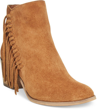 Kenneth Cole Reaction Rotini Fringe Ankle Booties $139 thestylecure.com