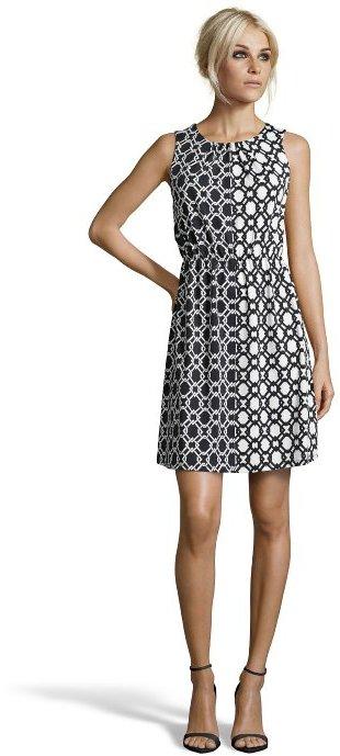 Julie Brown JB by black and white jersey knit 'Gilly' pretzel print shift dress