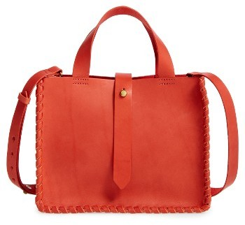 Madewell Whipstitch Mini Leather Tote Bag - Brown
