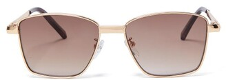 Le Specs Supastar Square Metal Sunglasses - Womens - Brown Gold