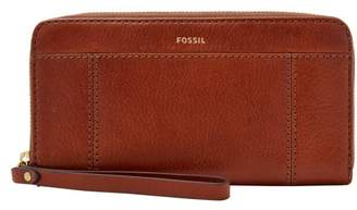Fossil Jori Rfid Zip Clutch Wallet Medium Brown