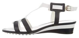 Tod's Colorblock T-Strap Wedges