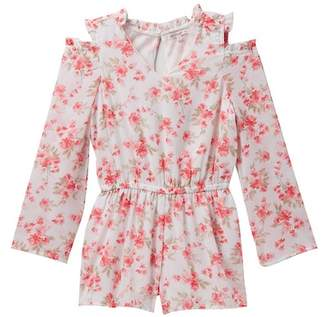 Ella Moss Cold Shoulder Floral Romper (Big Girls)