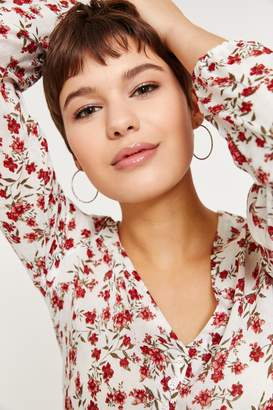 Ardene Sheer Floral Tie Front Blouse