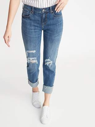 Old Navy Mid-Rise Distressed Boyfriend Straight Jeans for Women