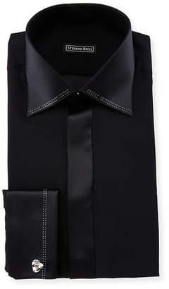 Stefano Ricci Crystal-Trim Silk French-Cuff Tuxedo Shirt $1,150 thestylecure.com