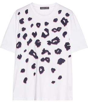 Markus Lupfer Alex Embellished Embroidered Cotton-Jersey T-Shirt