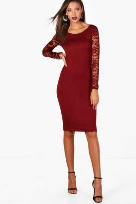 boohoo Tall Lace Sleeve Mini Bodycon Dress