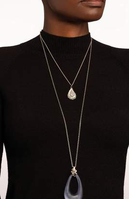 Alexis Bittar Scattered Crystal Baguette Long Pendant Necklace