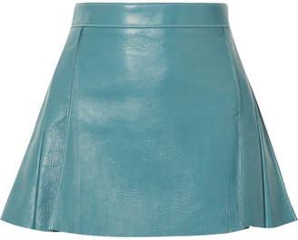Chloé Pleated Leather Mini Skirt - Blue