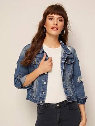 Shein Faded Ripped Crop Denim Jacket
