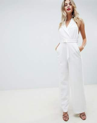 Asos Design DESIGN tux jumpsuit with wide leg