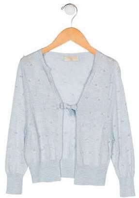 MonnaLisa Girls' Embellished Long Sleeve Cardigan