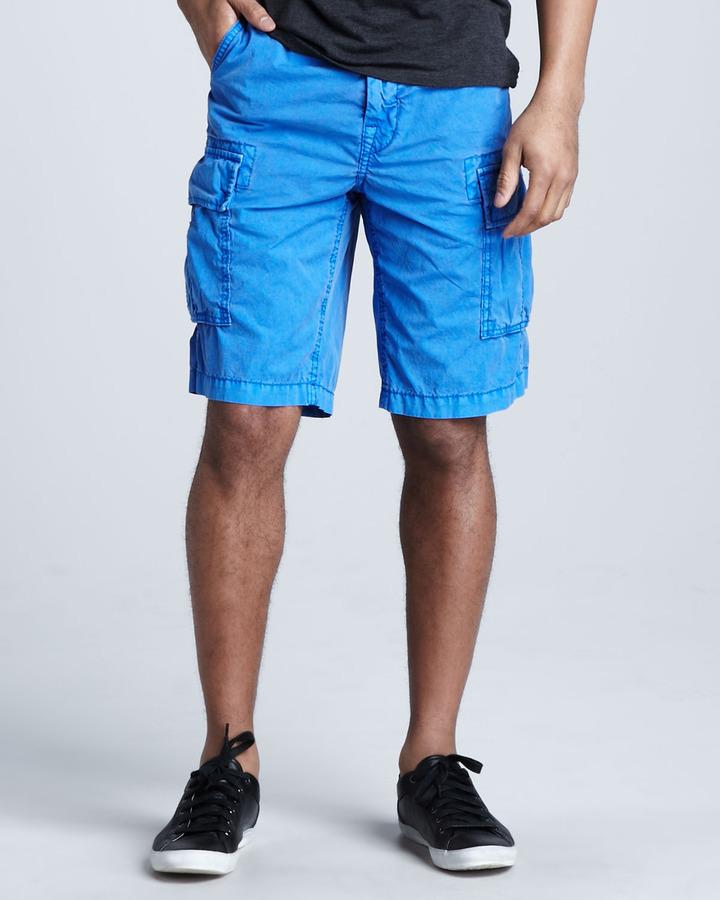 True Religion Samuel Overdyed Cargo Shorts, Royal Blue