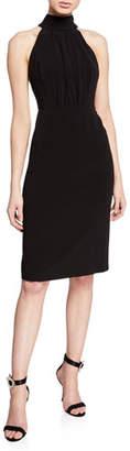 Halston Mock-Neck Sleeveless Strappy-Back Dress