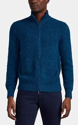 Loro Piana Men's Baby-Cashmere Zip-Front Sweater - Blue