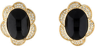 Christian Dior  Christian Dior Resin Cabochon & Crystal Clip-On Earrings