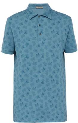 Bottega Veneta Butterfly Print Cotton Pique Polo T Shirt - Mens - Blue