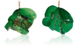 Marni Horn Petal and Strass Earrings
