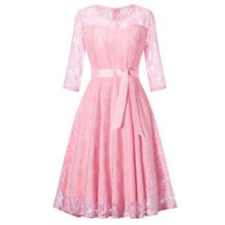 Vibola Dress for Women, Ladies Wedding Bridesmaid Hollow Out Lace Long Dress (L, )