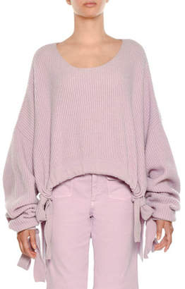 Stella McCartney Scoop-Neck Cropped Chunky Ribbed Drawstring-Hem Sweater