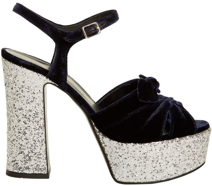 SAINT LAURENT Candy bow-detail velvet platform sandals