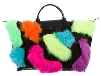 Jeremy Scott x Longchamp Faux Fur-Accented Large Pliage Tote