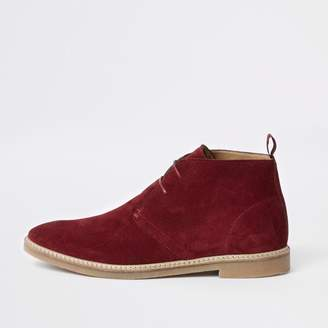 River Island Mens Red suede eyelet desert boots