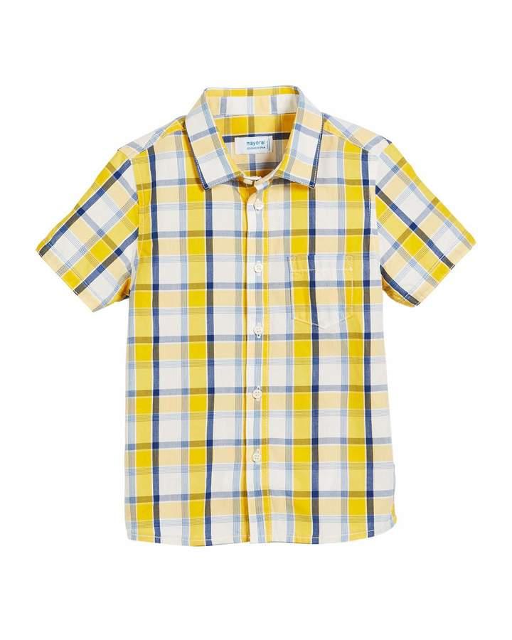 Short-Sleeve Check Shirt, Size 12-36 Months