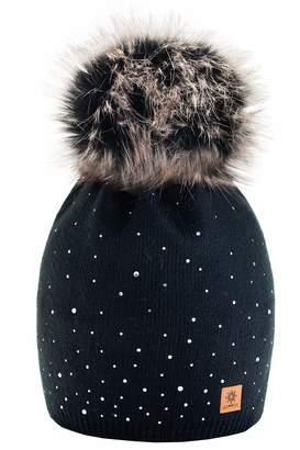 4bbb1370452 MFAZ Morefaz Ltd Women Ladies Winter Beanie Hat Knitted with Small Crystals  Large Faux Fur Pom