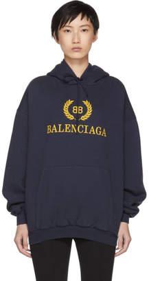 Balenciaga Navy BB Crown Logo Hoodie