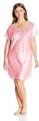 Shadowline Women's Plus-Size Charming Satin Charmeuse Sleepshirt