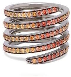 Lynn Ban - Ombre Sapphire & Rhodium Coil Ring - Womens - Orange