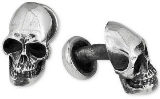 King Baby Studio Men's Skull Ball Post Cuff Links in Sterling Silver