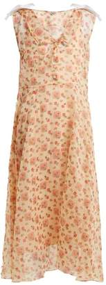Miu Miu Contrast Collar Floral Print Dress - Womens - Yellow Print