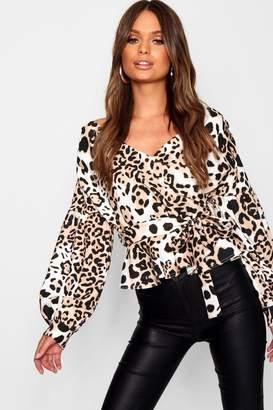 boohoo Leopard Print Bell Sleeve Wrap Over Top