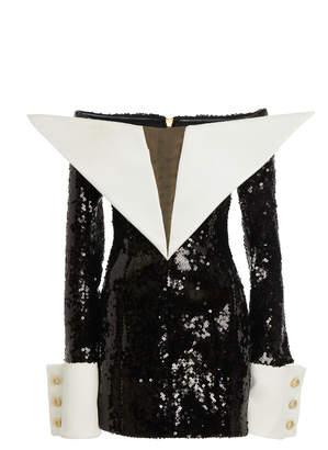 Balmain Off-The-Shoulder Satin Sequin Dress