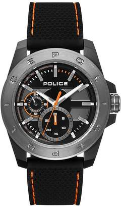 Police Peckham Black With White And Red Detail Multi Dial Black And Red Detail Fabric Strap Mens Watch