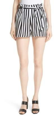 L'Agence Alex Stripe Silk Paperbag Shorts