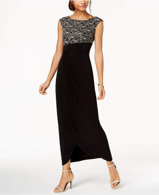 Connected Contrast-Lace Draped Gown