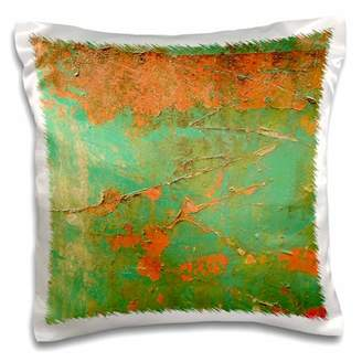 N. 3dRose Rusted Kelly Green Orange - Pillow Case, 16 by 16-inch