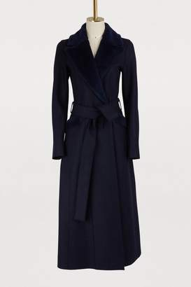 Harris Wharf London Wool long coat with faux fur collar
