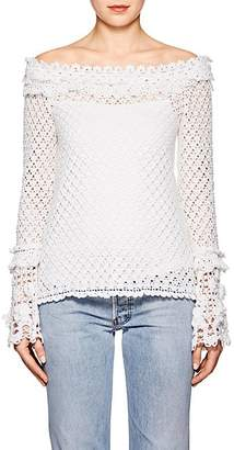 Spencer Vladimir Women's Cotton Crochet Cold-Shoulder Top - White