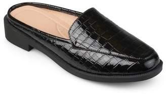 Brinley Co. Women's Faux Patent Square Toe Comfort-sole Croc Pattern Slide Mules